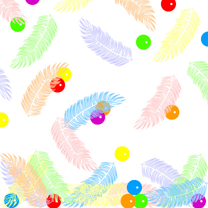 abstract pattern with flying rainbow feathers and round bright colored beads