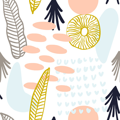 Abstract pattern with organic shapes in pastel colors