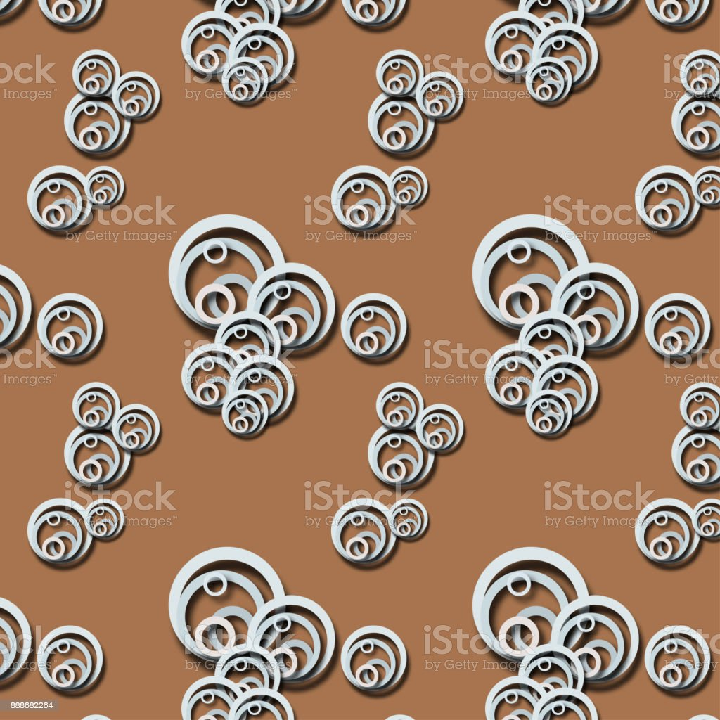 Abstract pattern with pale blue circles. Circles on brown vector art illustration