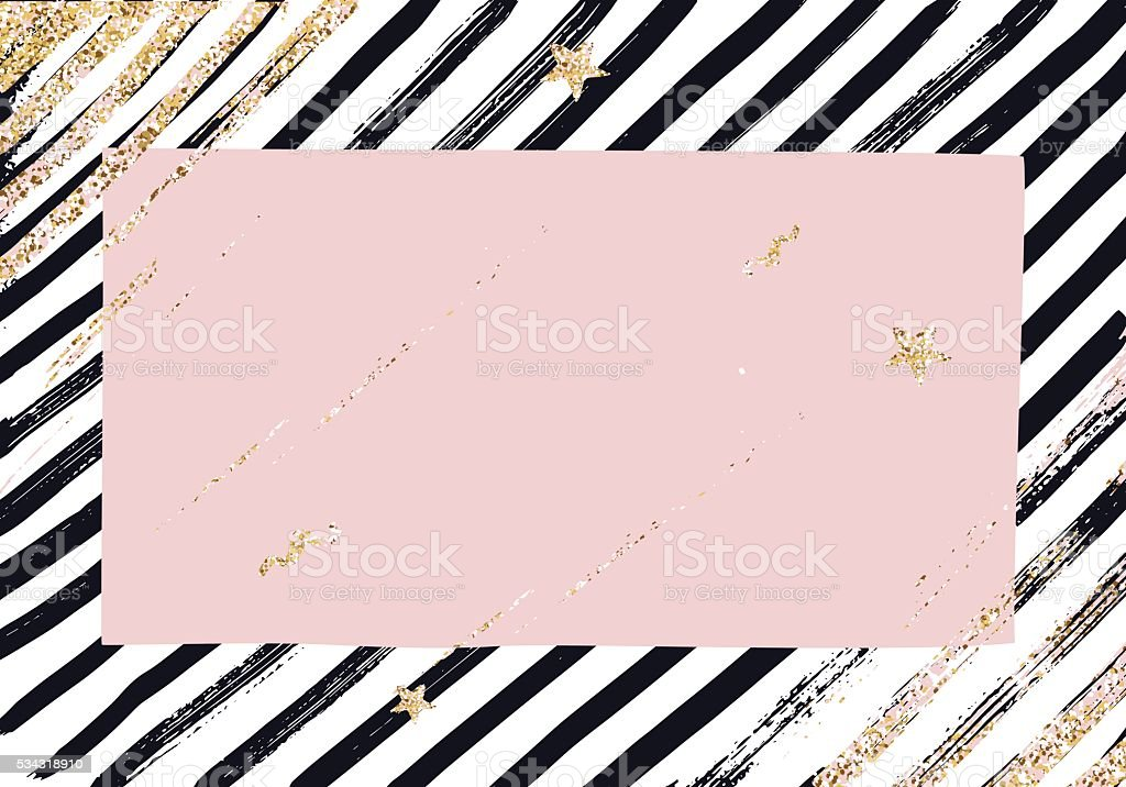 Abstract  pattern with trendy glitter and gold  textured brush strokes vector art illustration