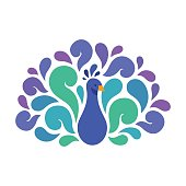 Abstract Peacock illustration with beautiful color swirls. Vector bird logo.
