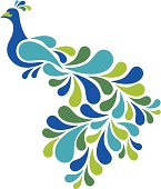 Retro style illustration of a peacock in blues and greens.  Zip folder contains AI8 .eps, 4250x5000px .jpeg, CS2.ai and.pdf files.