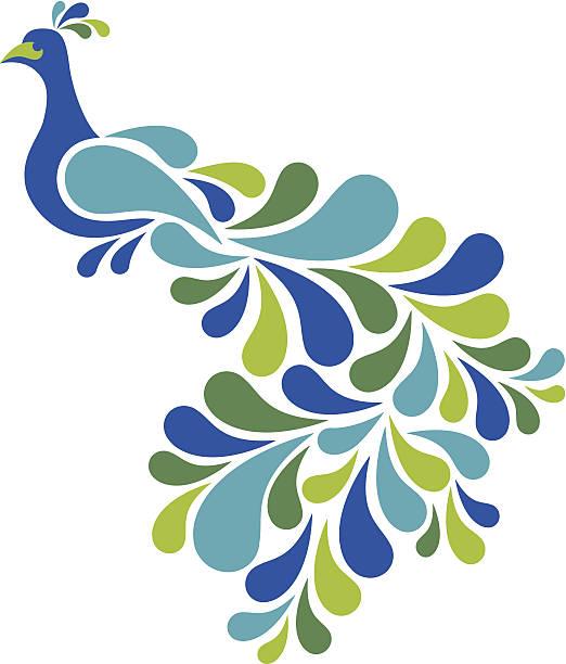 абстрактный синий - peacock stock illustrations