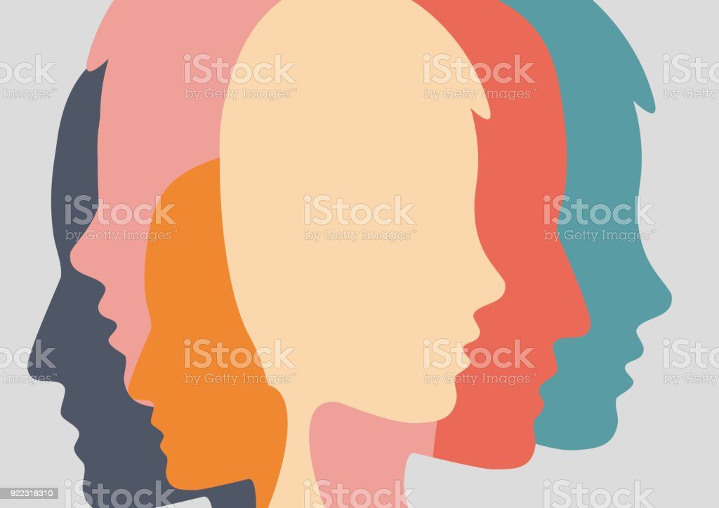 Abstract people and crowd. Concept of fusion of thoughts vector art illustration