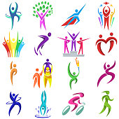 Abstract people body shapes icons modern concept human logo design graphic characters collection vector illustration. Conceptual motion team dance figure.
