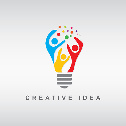 abstract people bulb clipart