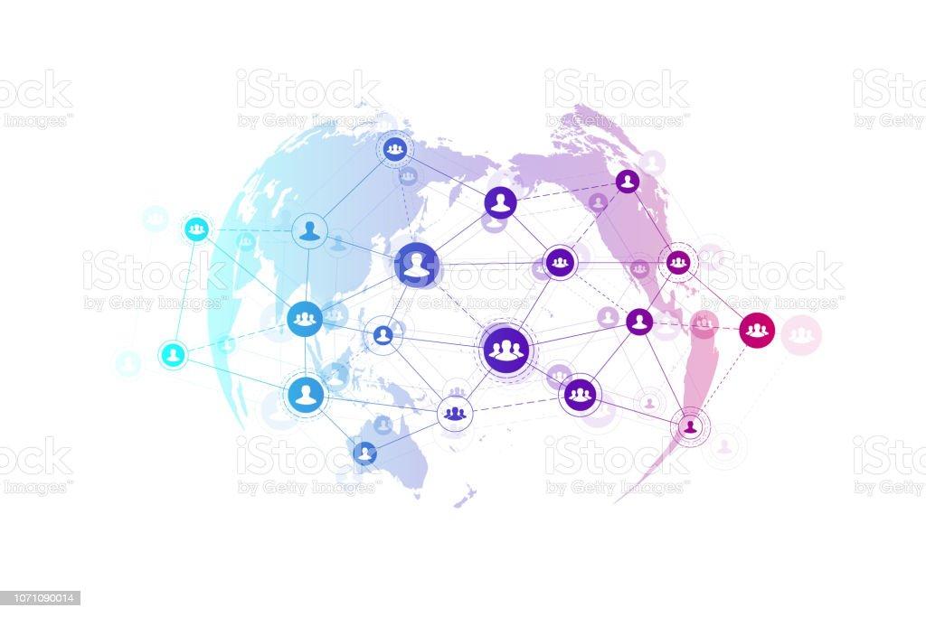 Abstrakten Menschen Verbindung Technologiekonzept mit gepunkteten Weltkugel. Globales Geschäft Konzept und Internet-Technologie-Hintergrund. Moderne Unternehmensprozesse. Analytische Netzwerke. Vektor-Illustration. Lizenzfreies abstrakten menschen verbindung technologiekonzept mit gepunkteten weltkugel globales geschäft konzept und internettechnologiehintergrund moderne unternehmensprozesse analytische netzwerke vektorillustration stock vektor art und mehr bilder von analysieren