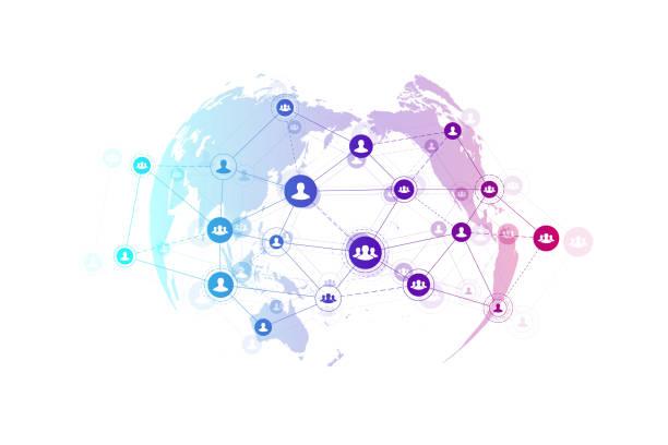 abstrakcyjni ludzie łączy koncepcję technologii z kropkowanym światem świata. globalna koncepcja biznesowa i tło technologii internetowych. nowoczesne procesy firmowe. sieci analityczne. ilustracja wektorowa. - globalny stock illustrations