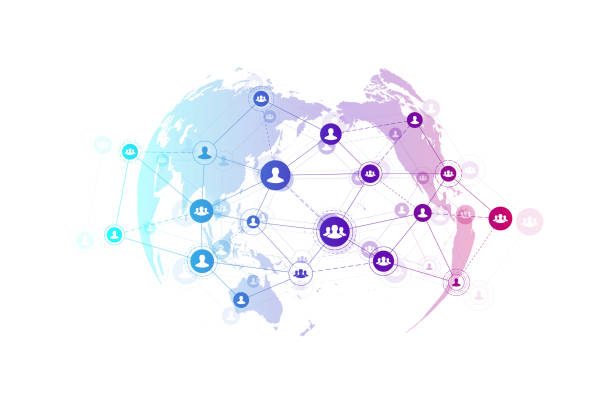 ilustrações de stock, clip art, desenhos animados e ícones de abstract people connection technology concept with dotted world globe. global business concept and internet technology background. modern company processes. analytical networks. vector illustration. - circular economy