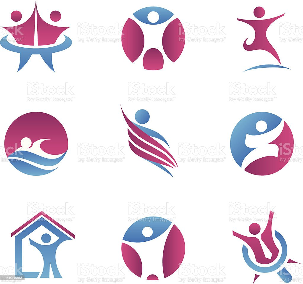 Abstract people logos and icons vector art illustration