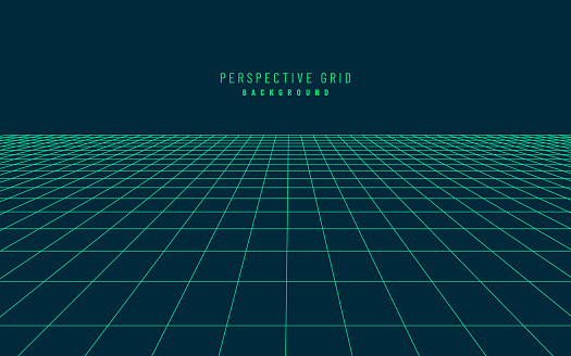 Abstract perspective dark blue green grid. Retro futuristic neon line on dark background, 80s design perspective distorted plane landscape composed of crossed neon lights and laser beams. Vector EPS10