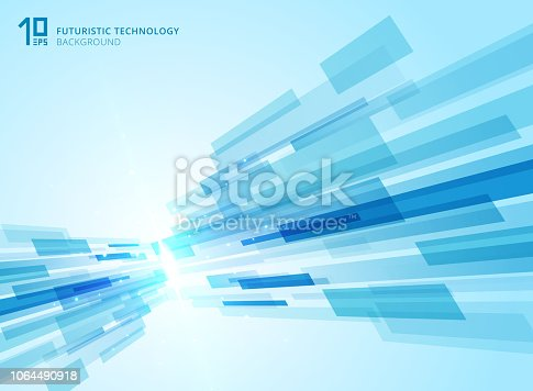 Abstract perspective futuristic technology geometric with light burst blue background. Vector illustration