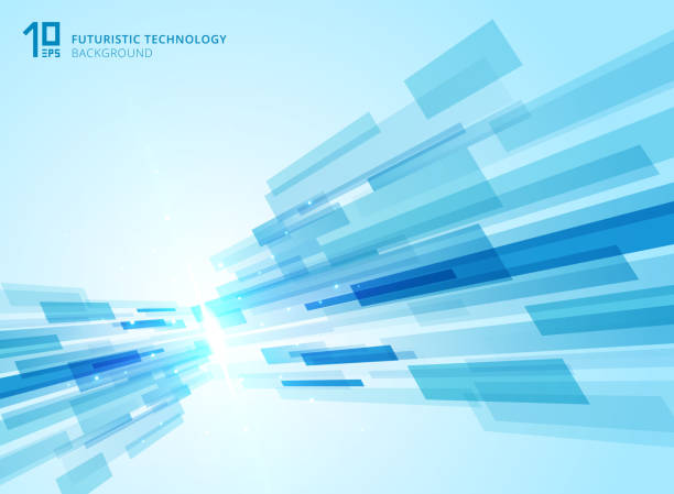 abstract perspective futuristic technology geometric with light burst blue background. - angle stock illustrations