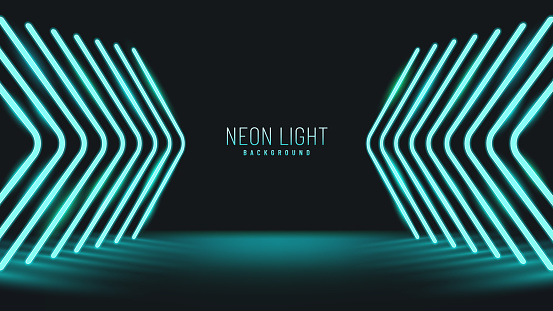 Abstract perspective green light arrow direction on black design modern futuristic background. Glowing lines, neon lights, ultraviolet, Cyan vibrant colors.