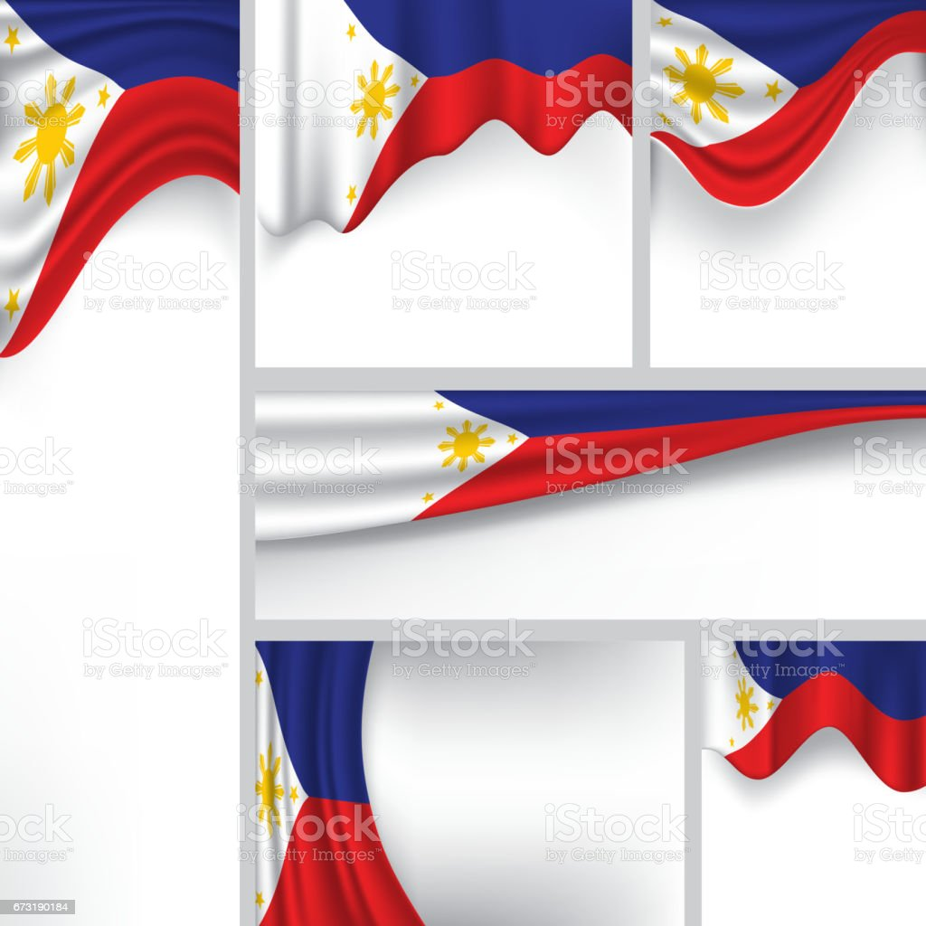 Abstract Philippine Flag, Philippines Colors (Vector Art) vector art illustration