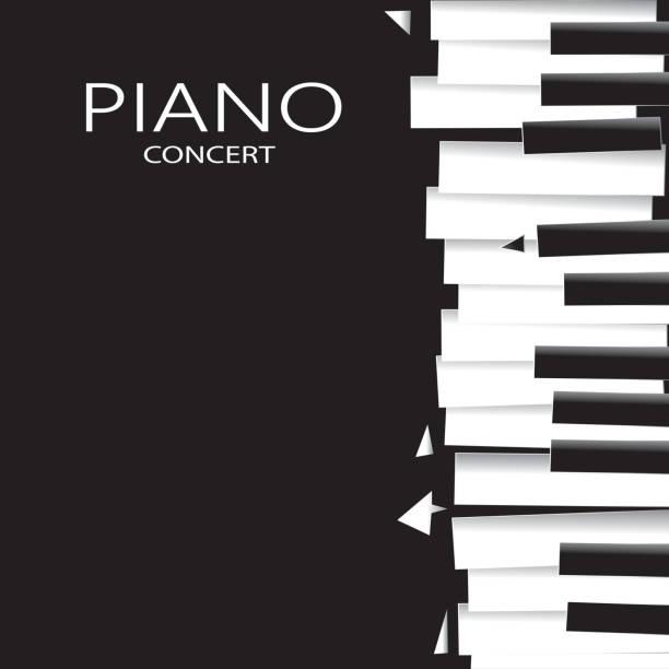 tło z muzyką fortepianową, muzyka plakat tło wektor sztuki (sztuki - muzyka poważna stock illustrations