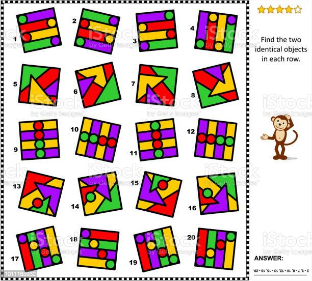 Abstract picture puzzle find two identical images in every row vector id1011165932?b=1&k=6&m=1011165932&s=612x612&h=0ic iyt7l1wimfiv4cxccfssnqs4yhdelpqlaguelso=