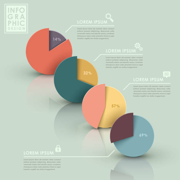 abstract pie chart infographics - pie chart stock illustrations, clip art, cartoons, & icons