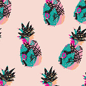 Abstract pineapple texture seamless pattern design. Easy to edit.