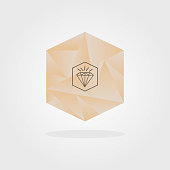 istock Abstract pink gradient triangle pattern inside hexagon shape and gem icon with shadow design element on light gray background 1277069500