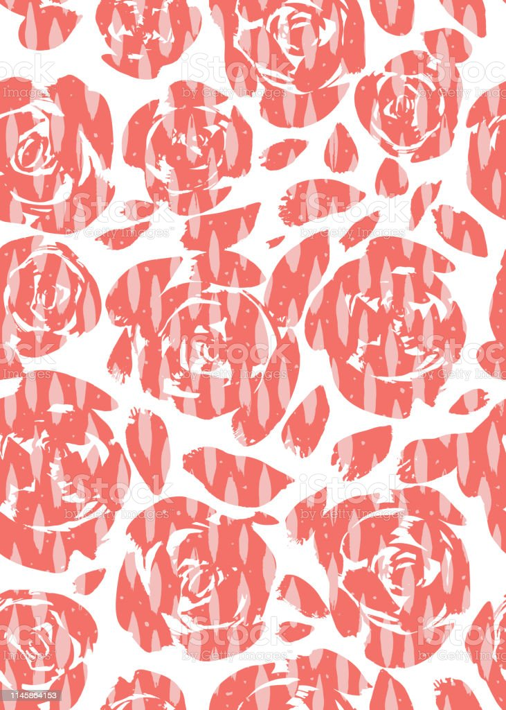 Abstract pink hand painted roses silhouettes with hand painted oval...