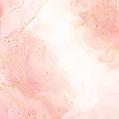 istock Abstract pink liquid watercolor background with golden crackers. Pastel marble alcohol ink drawing effect. Vector illustration inkscape design template for wedding invitation 1300202621