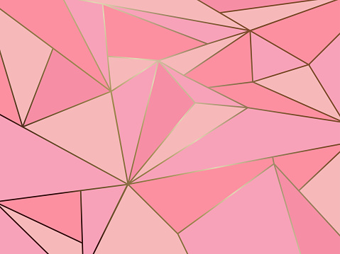 Abstract pink polygon artistic geometric with gold line background clipart