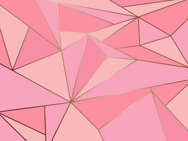 예술적 추상 분홍색 다각형 골드 라인 배경 형상 - 분홍 stock illustrations