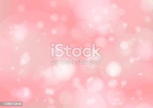 Abstract bright pink sky bokeh background with white light bubbles. Cute light coral and red colors wallpaper with blurred blobs effect for ui design, web, apps wallpaper, banner
