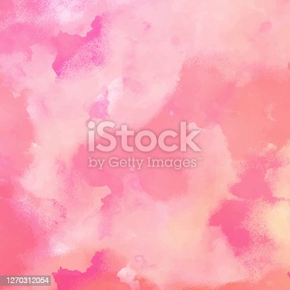 istock Abstract Pink Watercolour Background with Pastel Color Brush Strokes. Abstract vector pattern. Abstract background texture for cards, party invitation, packaging, surface design. 1270312054