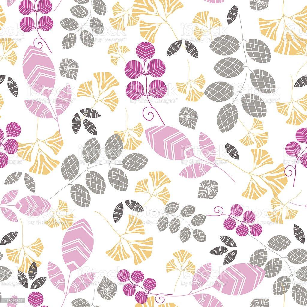 Sfondo Rosa Giallo E Grigio Foglie Seamless Pattern Di Sfondo