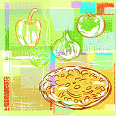 Abstract Pizza Background, all shapes are in seperate layers. This is EPS 10 file, opacity reduced on some layers. no transparency modes used. Please visit my portfolio for more options.