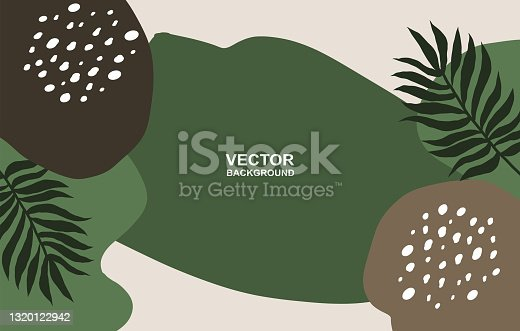 Abstract. Plam tree elements shapes earth tone background. Vector.