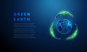 Abstract planet earth in recycle sign from leafs. Low poly style design. Blue geometric background. Wireframe light connection structure Modern 3d graphic ecology concept Isolated vector illustration