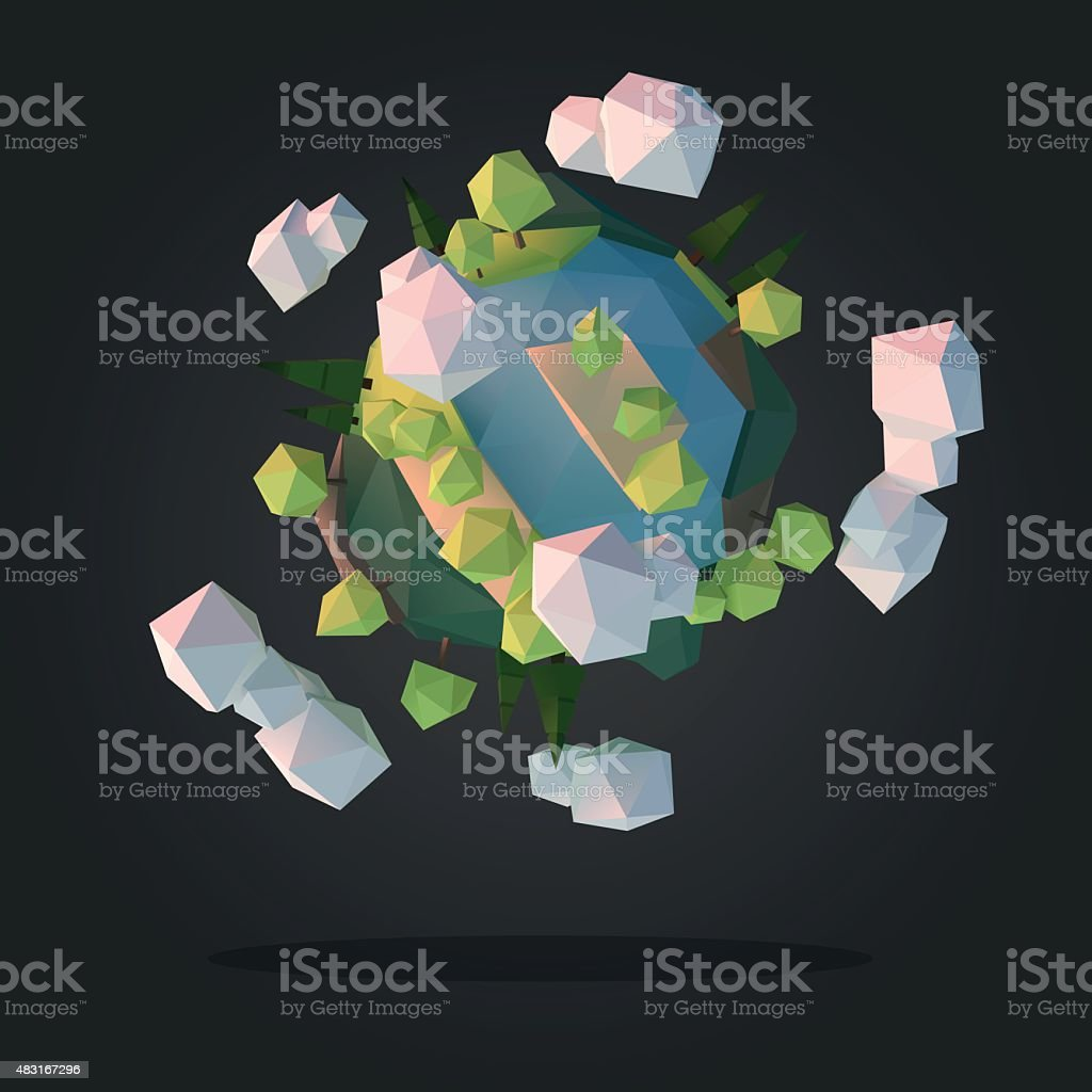 Abstract Planet Low Poly Geometry Design Vector vector art illustration
