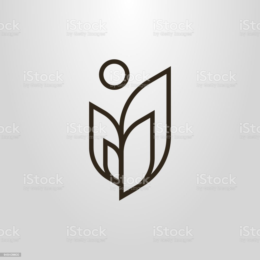 abstract plant linear icon vector art illustration