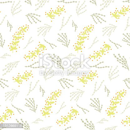 istock Abstract plant vector hand draw illustrations. Seamless pattern. Pastel colors. Children, kids sketch drawing. Fashion modern style. Endless fabric print. 1312665116