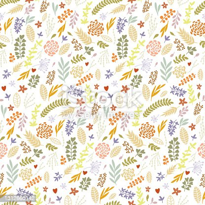 istock Abstract plant vector hand draw illustrations. Seamless pattern. Pastel colors. Children, kids sketch drawing. Fashion modern style. Endless fabric print. 1312665142