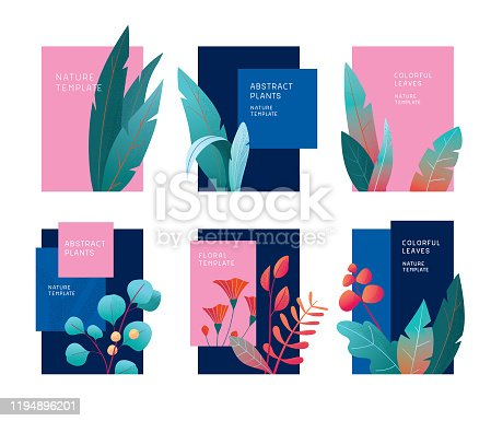 istock Abstract plants template set 1194896201