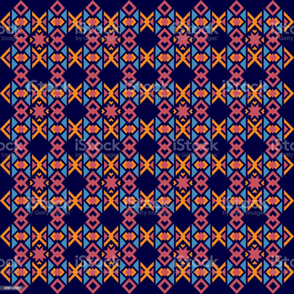 Abstract Playful Colorful Geometric Ethnic Pattern Design For
