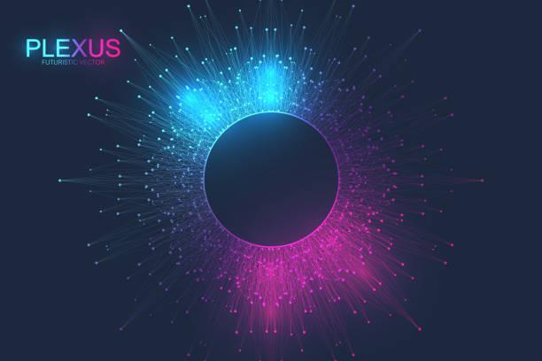 Abstrakter Plexushintergrund mit verbundenen Linien und Punkten. Molekül und Kommunikationshintergrund. Grafischer Hintergrund für Ihr Design. Lines plexus Big Data Visualisierung. Vektor-Illustration – Vektorgrafik