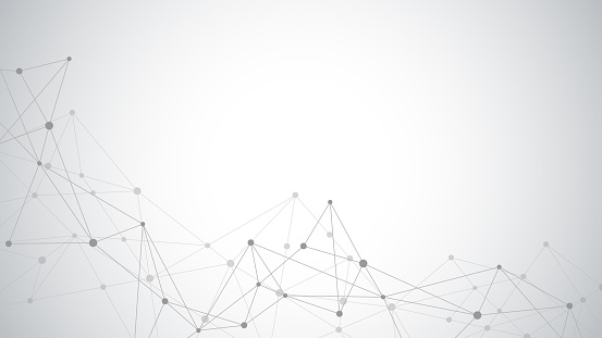 Abstract plexus background with connecting dots and lines. Global network connection, digital technology and communication concept.