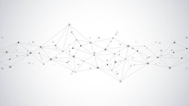 abstrakcyjne tło splotu z łączącymi kropkami i liniami. globalne połączenie sieciowe, technologia cyfrowa i koncepcja komunikacji. - sieć komputerowa stock illustrations
