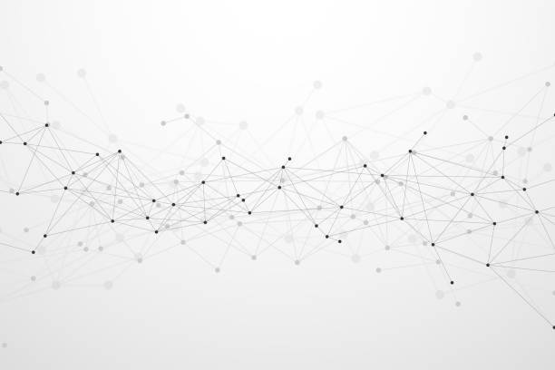ilustrações, clipart, desenhos animados e ícones de fundo futurista da rede da tecnologia do plexo abstrato. ilustração do vetor - nó