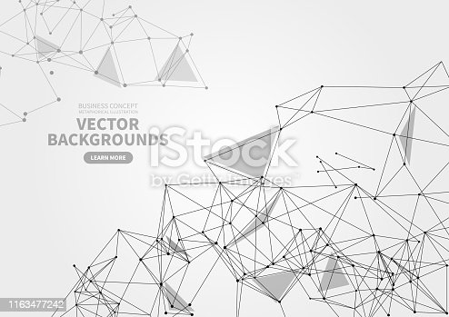 Abstract point and line geometric background, polygonal structure