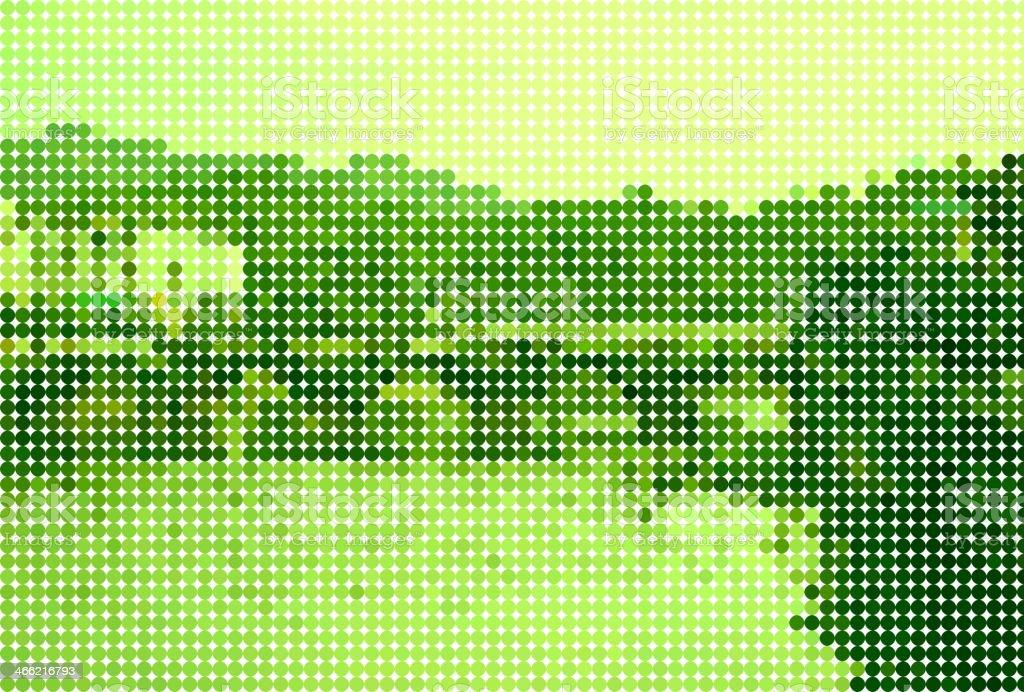 abstract polka dot style green landscape background vector art illustration