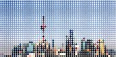 abstract colorful polka dots style Shanghai skyline pattern background for design