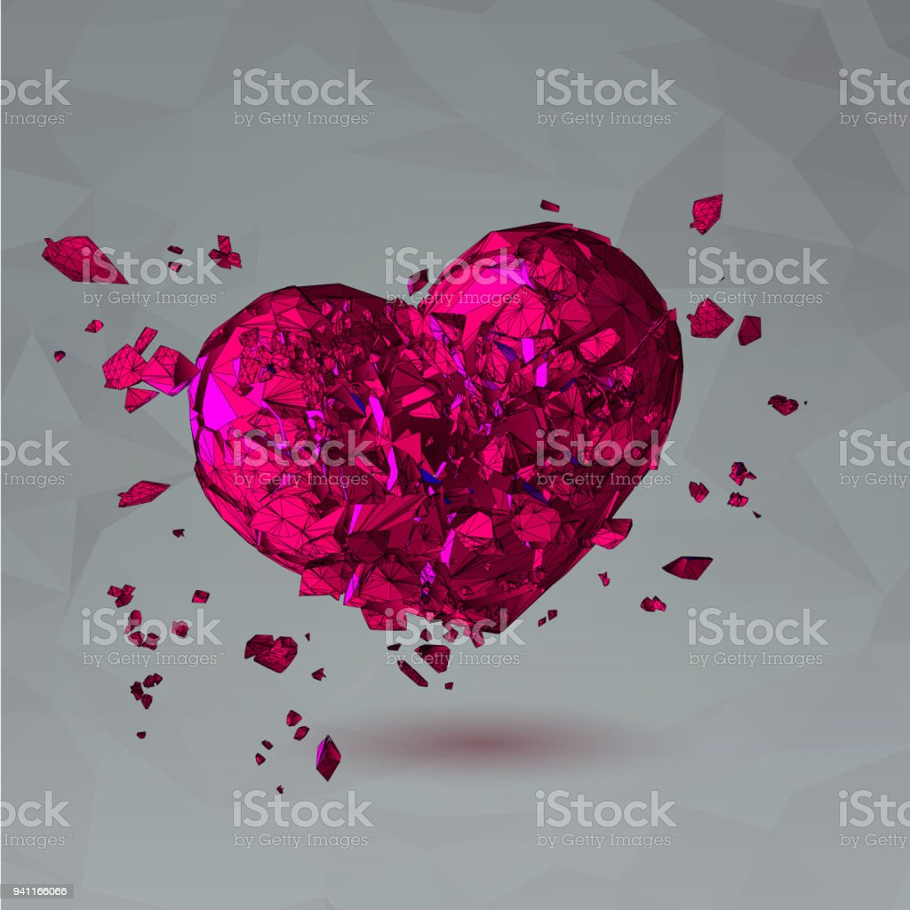 Abstract polygon broken heart illustration vector art illustration