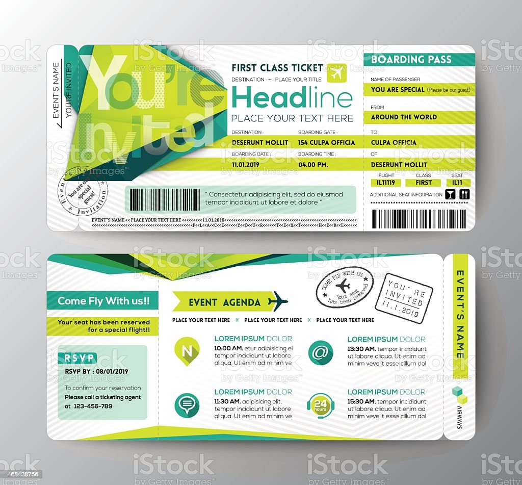 Abstract Polygon Design Boarding Pass Event Ticket Invite Card Stock ...