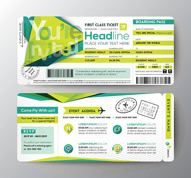 abstract polygon design boarding pass event ticket invite card - tickets and vouchers templates stock illustrations